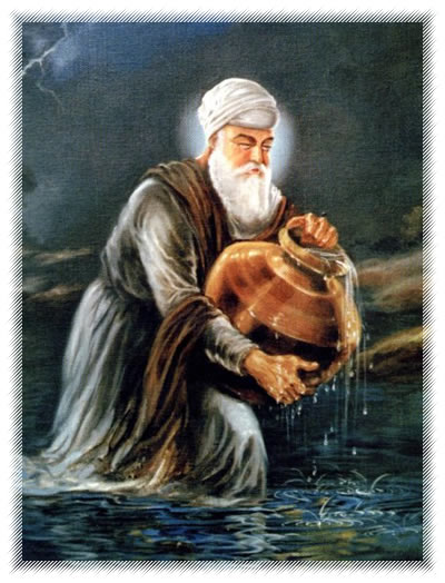 Guru) Amar Das Ji filling water in a gagar (brass pitcher) from the ...: www.allaboutsikhs.com/guru-sakhis/guru-amar-das-ji-fetching-water